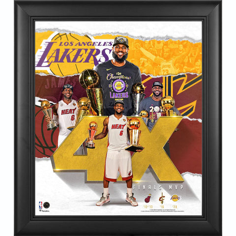 "LeBron James Los Angeles Lakers Framed 15"" x 17"" 4X NBA Finals MVP Collage Official Fanatics - 4616"