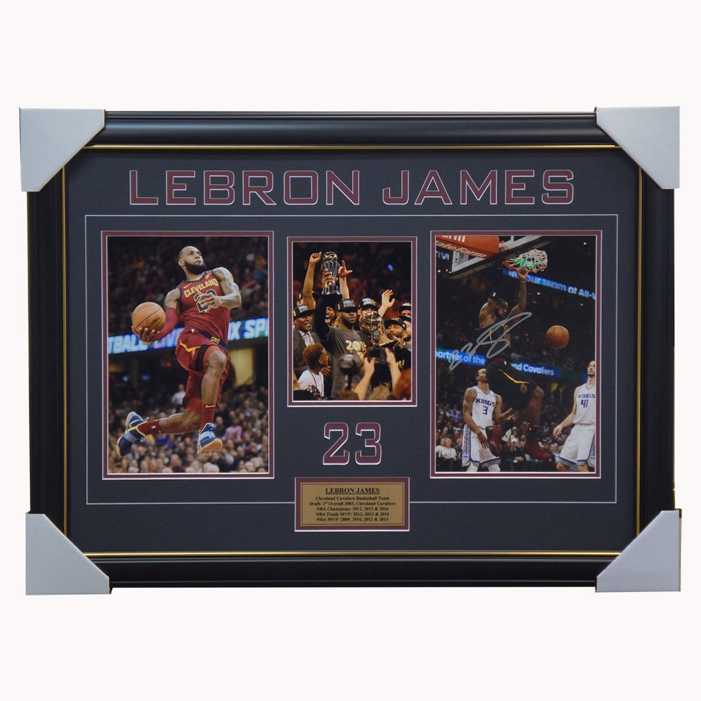 Lebron James Signed Cleveland Cavaliers Photo Collage Framed Nba Champions - 2985