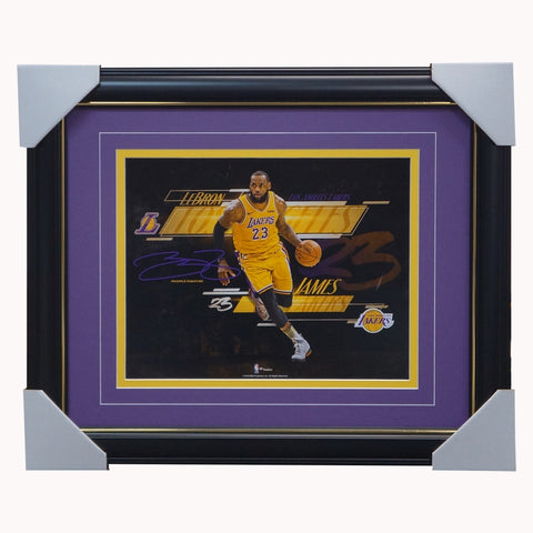 Lebron James Los Angeles Lakers Spotlight Photograph Facsimile Signed Official Nba Print Framed - 4328