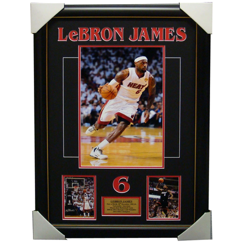 Lebron James Miami Heat Unsigned Collage Framed - 4109