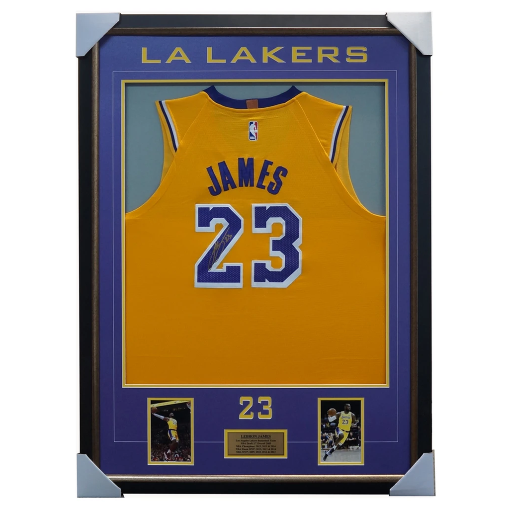 Lebron James Signed Los Angeles Lakers Yellow Jersey Frame 100% Authentic Coa - 3573