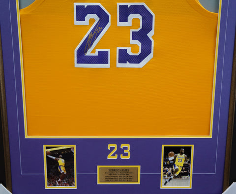 dacb7ffe5d9 ... Lebron James Signed Los Angeles Lakers Yellow Jersey Frame 100%  Authentic + COA - 3573