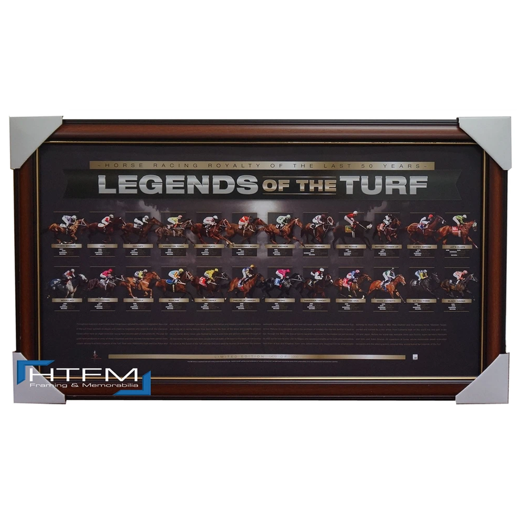 Legends of the Turf L/e Print Framed - Black Caviar Vain Makybe Diva Sunline - 2084