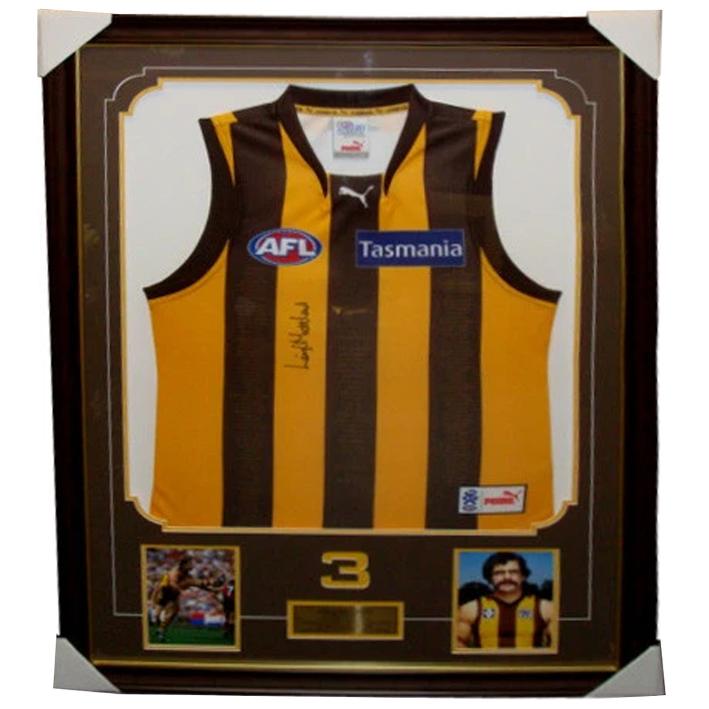 Leigh Matthews Hawthorn L/E 5 Decades Signed Jumper Framed - 3792