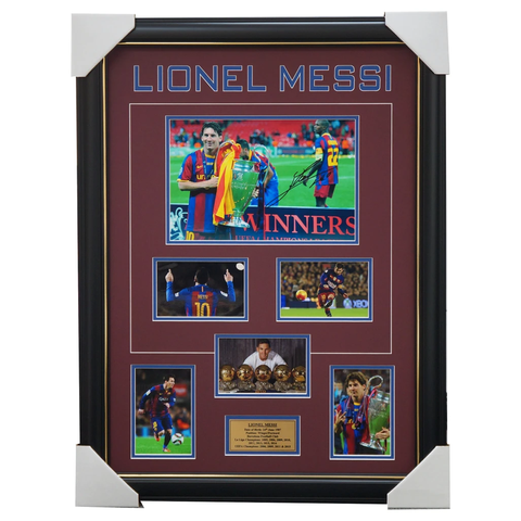 Lionel Messi Barcelona Signed Photo Collage Framed Champions League - 3875