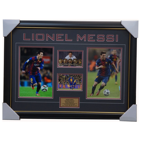 Lionel Messi Hand Signed Barcelona Photo Collage With Plaque Framed + Coa - 2257