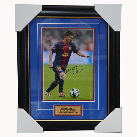 Lionel Messi Barcelona Hand Signed Photo Framed - 3507