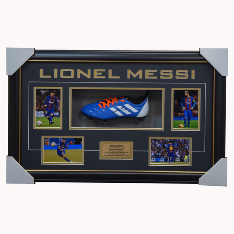 Lionel Messi Signed Barcelona Adidas Boot Box Framed Fifa Ballon D'or - 2883