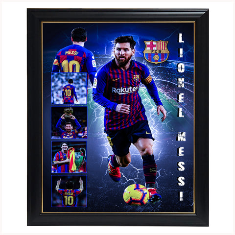 Lionel Messi Barcelona Champion Collage Print Framed - 4366