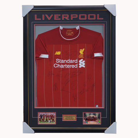 Liverpool Signed 2019/20 Team Jersey Framed Salah Henderson - 3856