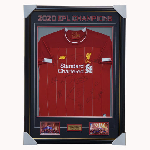 Liverpool Signed 2019/20 EPL Champions Team Jersey Framed Salah Henderson - 4443