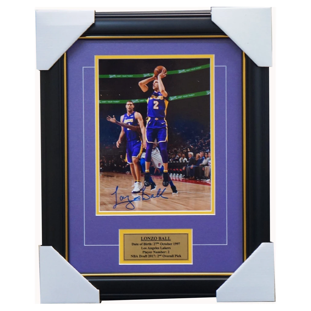 Lonzo Ball Signed Los Angeles Lakers NBA Photo Framed + COA BRAND NEW - 3577