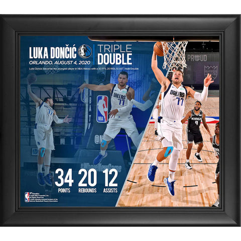 "Luka Doncic Dallas Mavericks Framed 15"" x 17"" Youngest Player In NBA History with a 30+ Point, 20+ Rebound, 10+ Assist Game Collage - 4613"