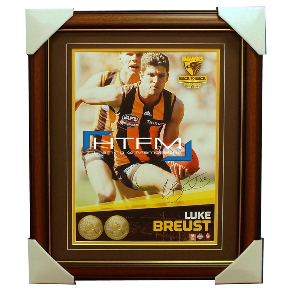 Luke Breust Signed 2014 Premiers AFL OFFICIAL Hawthorn Photo Framed - 1987