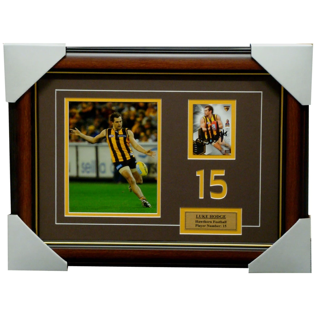 Luke Hodge Hawthorn Captain Signed Card with Photo Framed - 1302