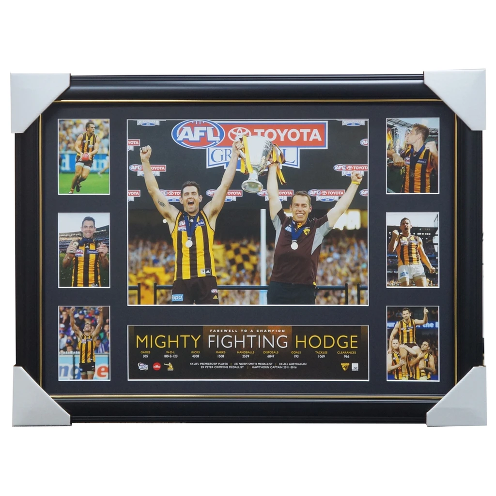Luke Hodge Mighty Fighting Hodge Deluxe Tribute Print Framed 4 x Premierships Norm Smith - 3445