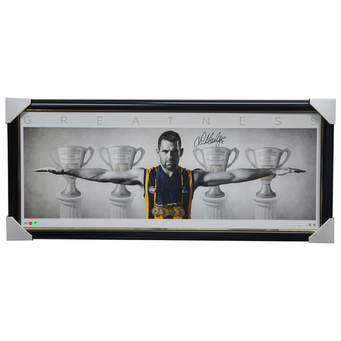 Luke Hodge Signed Wings Hawthorn Print Framed inc Premiership Cups - 3141