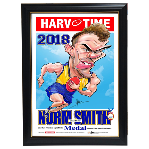 Luke Shuey 2018 Norm Smith West Coast Eagles 2018 Premiers L/E Official Harv Time Print Framed - 3514