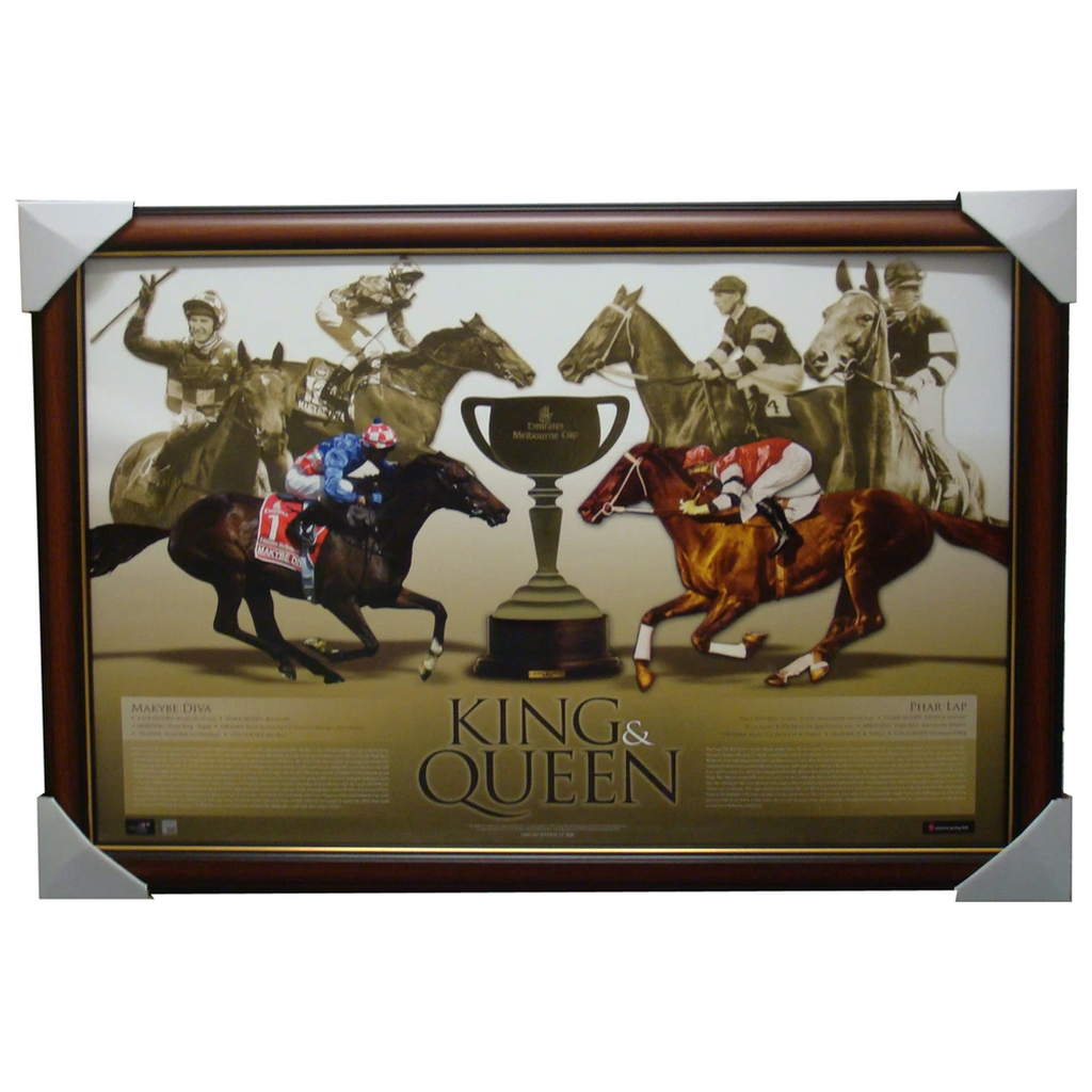 Makybe Diva and Phar Lap Limited Edition Print King & Queen Framed - 1449