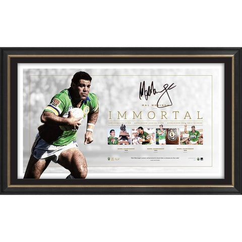 Mal Maninga Signed Canberra Raiders Official NRL Lithograph Immortal Frame - 4333