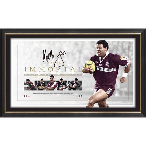 Mal Maninga Signed Queensland State of Origin Official Nrl Lithograph Immortal Frame - 4334