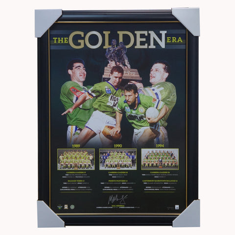 Mal Maninga Signed Canberra Raiders Official NRL The Golden Era Frame - 4340