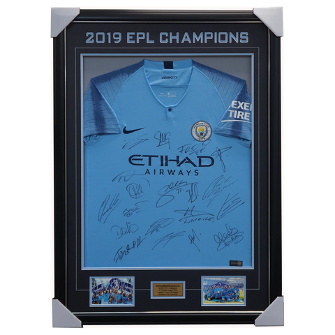 Manchester City Signed 2018/19 EPL Champions Team Jersey Framed Kompany - 3679
