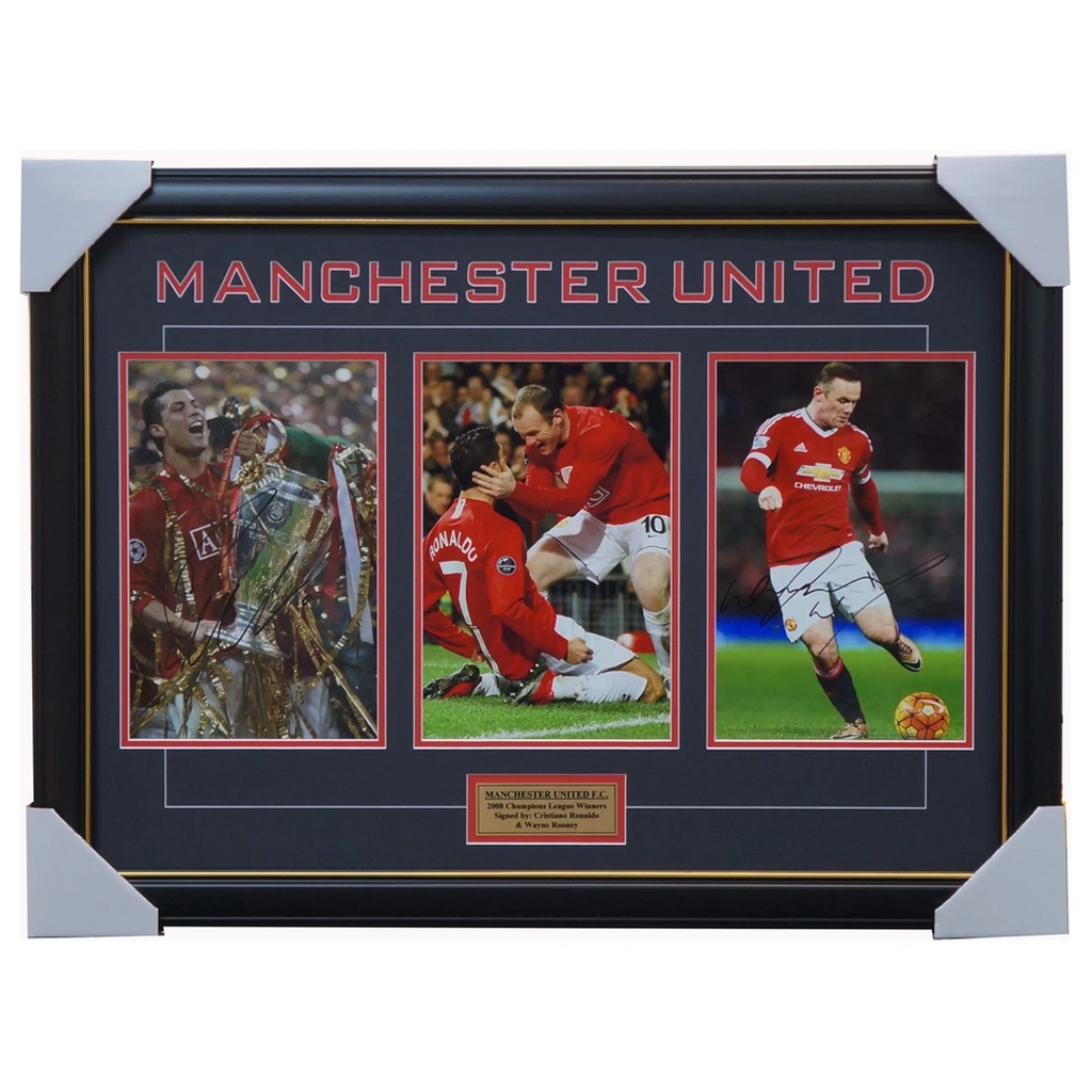 Manchester United Signed 2008 Champions League Collage Framed Wayne Rooney Cristiano Ronaldo - 2900