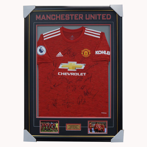 Manchester United Signed 2020/21 Team Jersey Framed Pogba Rashford - 4598