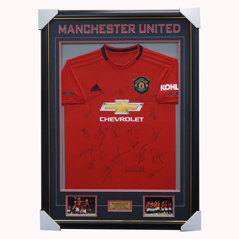 Manchester United Signed 2019/20 Team Jersey Framed Pogba Rashford Matic - 3587