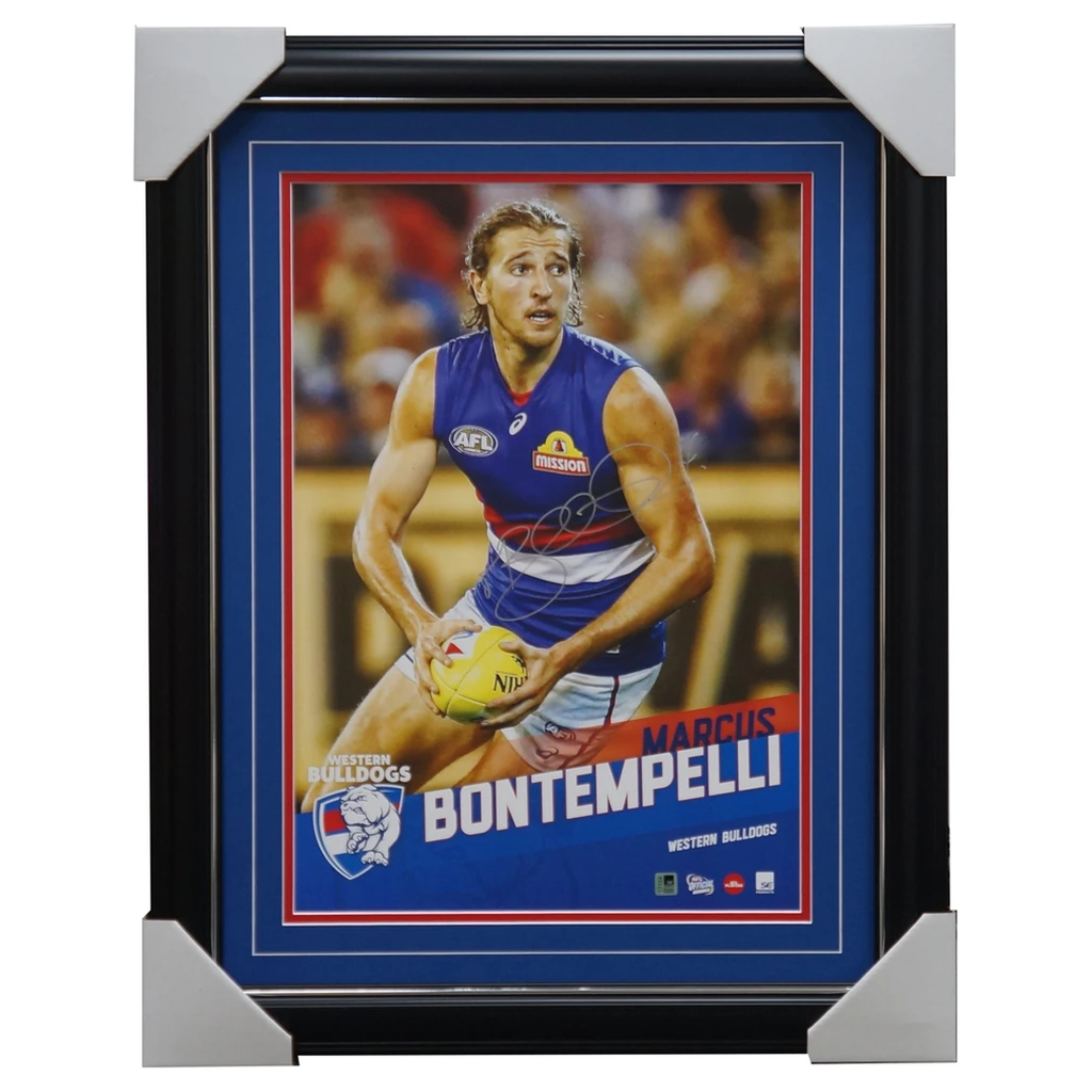 Marcus Bontempelli Signed Bulldogs Official Afl Vertiramic Print Framed Aflpa - 3128