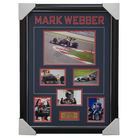 Mark Webber Red Bull Formula 1 Signed Photo Collage Framed - 1035