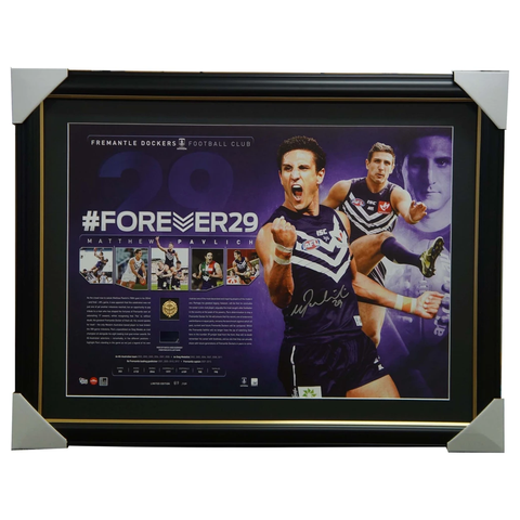 Matthew Pavlich Signed Fremantle Career Retrospective Forever 29 Signed Lithograph Framed - 2920