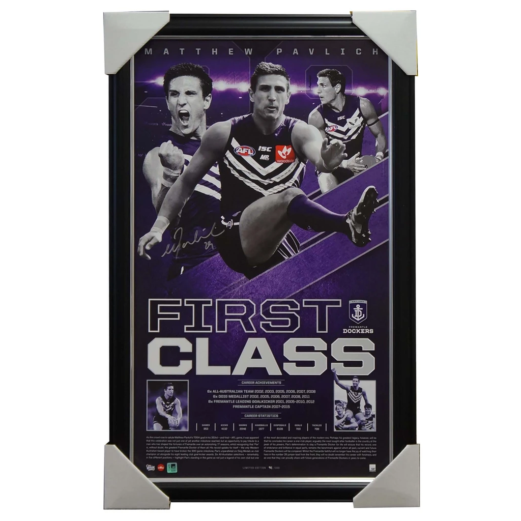 Matthew Pavlich Signed Fremantle Dockers First Class Signed Vertiramic Print Framed Aflpa - 2922