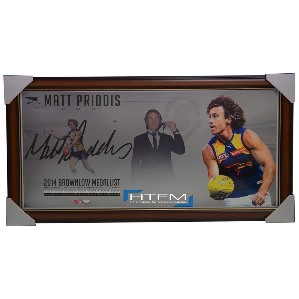 Matthew Priddis 2014 Brownlow Medallist L/e Facsimile Signed Print Framed - 1958