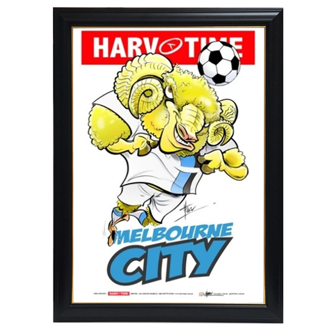 Melbourne City, a-league Mascot Harv Time Print Framed - 4185