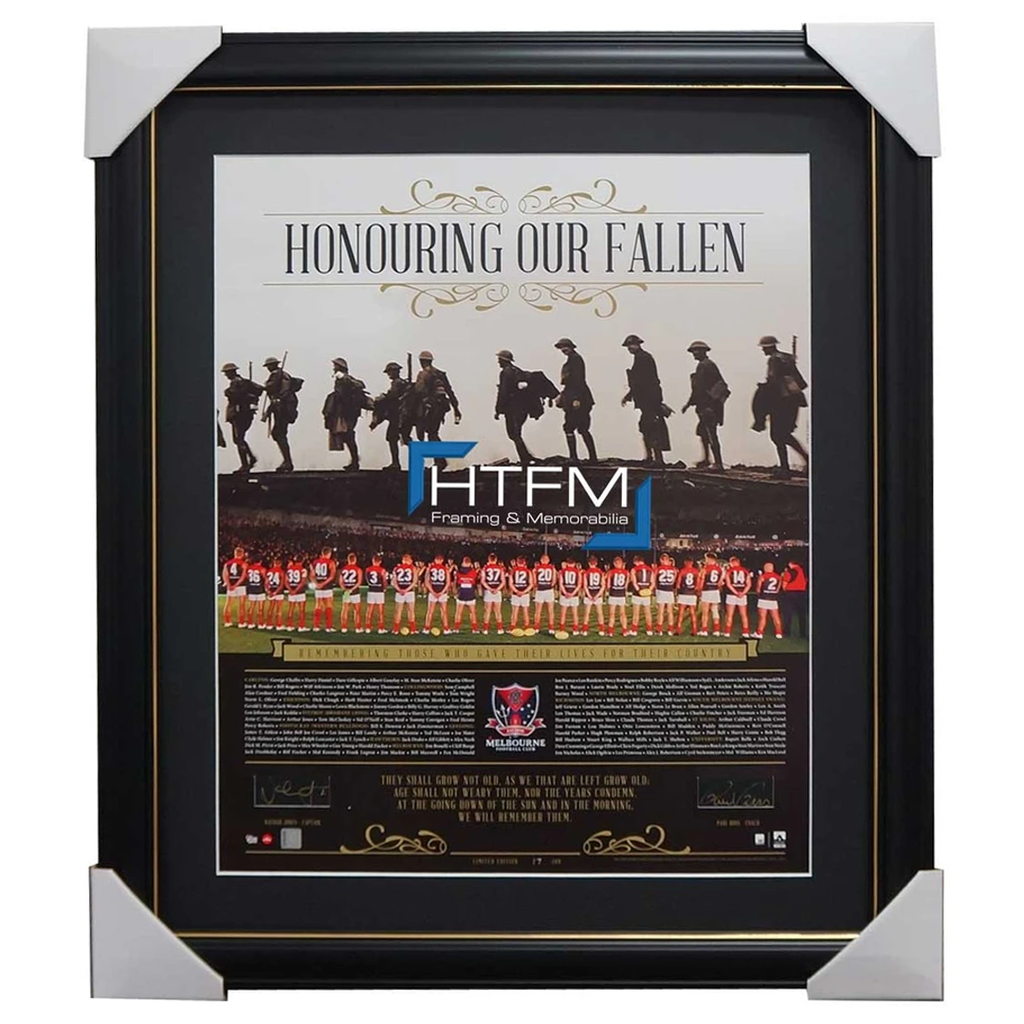 Melbourne Honouring Our Fallen Anzac Signed Afl Print Framed Jones & Paul Roos - 1079