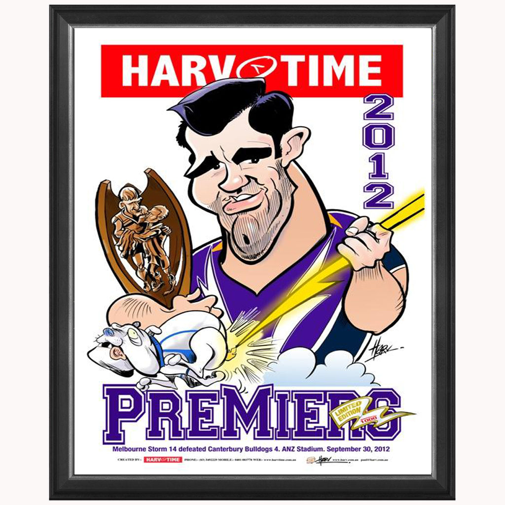 Melbourne Storm 2012 Nrl Premiers Harv Time Limited Edition Print Framed - 4081