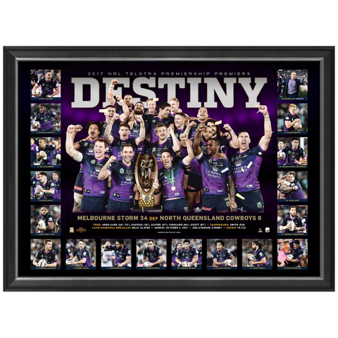 Melbourne Storm 2017 Nrl Premiers Deluxe Sportsprint Frame Smith Cronk Slater - 3197
