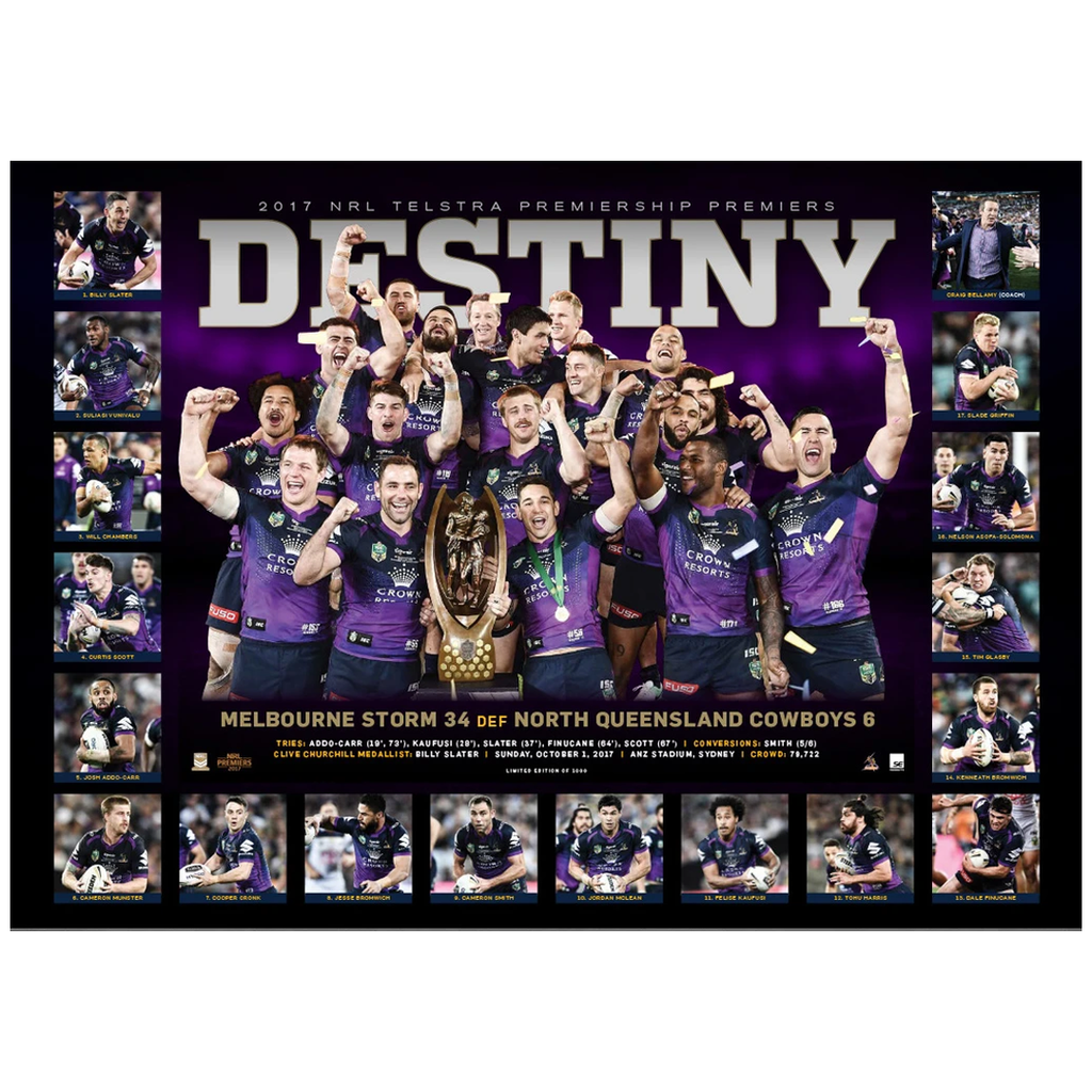 Melbourne Storm 2017 Nrl Premiers Deluxe Sportsprint Only Smith Cronk Slater - 3201