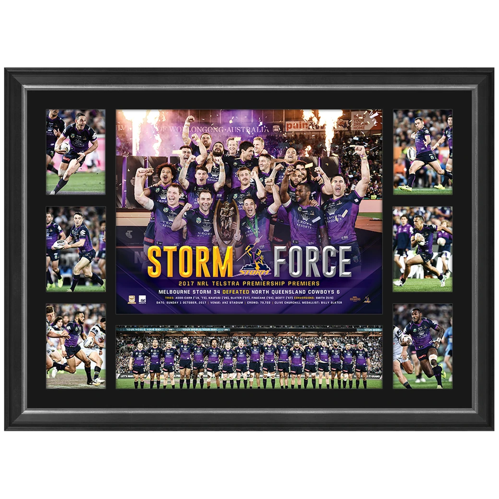 Melbourne Storm 2017 Nrl Premiers Deluxe Tribute Frame Smith Cronk Slater - 3196