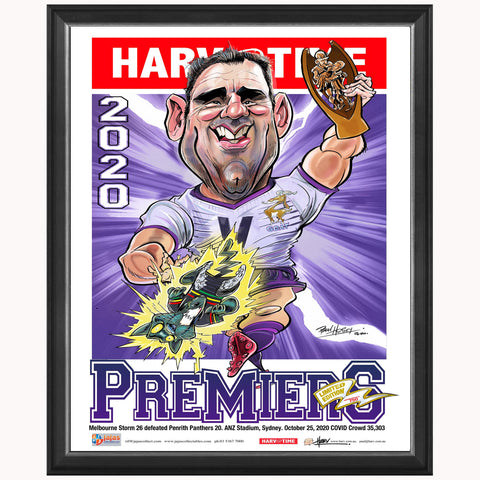 Melbourne Storm 2020 Premiers Limited Edition Harv Time Print Framed Cameron Smith - 4690