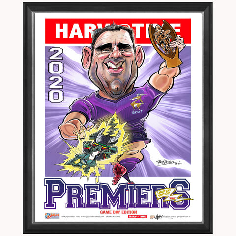 Melbourne Storm 2020 Premiers Limited Edition Harv Time Print Framed Cameron Smith - 4683