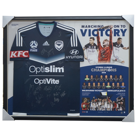 Melbourne Victory 2017/18 a-league Champions Signed Official Jersey Framed - 3437