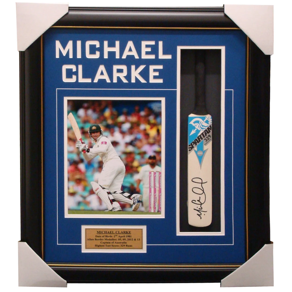 Michael Clarke Australia Spartan Signed Mini Bat Framed - 1345