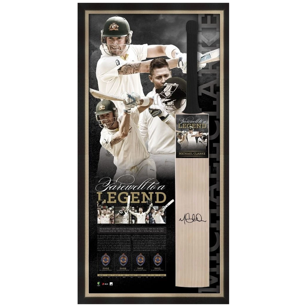 Michael Clarke Signed Retirement Official Acb Bat Framed Farewell to a Legend - 2525