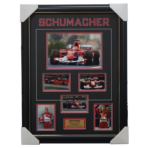 Michael Schumacher Hand Signed Ferrari Photo Collage Framed 100% Authentic - 3195