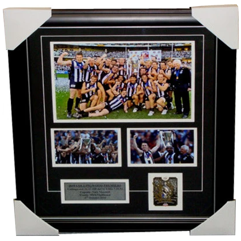 Mick Malthouse & Nick Maxwell Signed 2010 Premiers Card Collage Framed - 3552