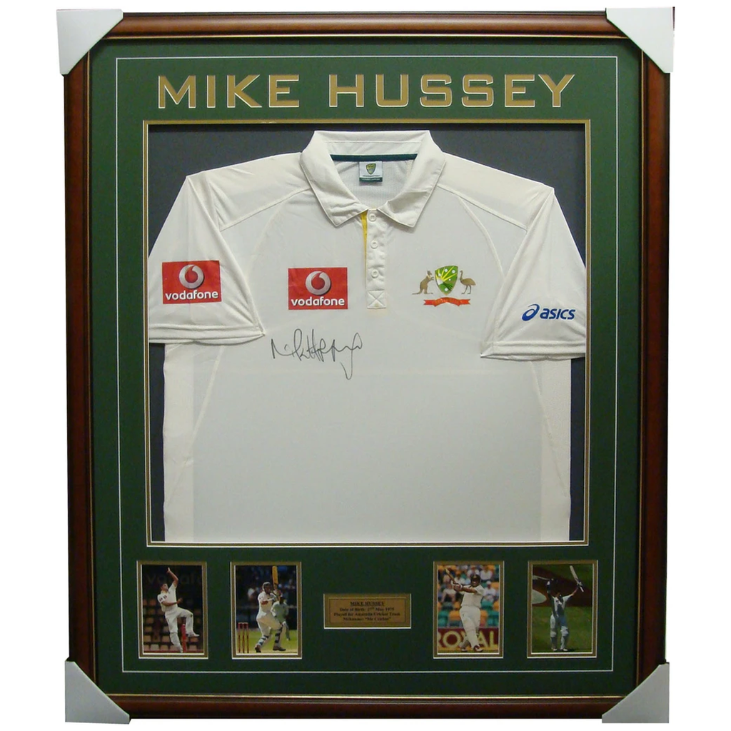 Mike Hussey Test Signed Jersey with Photos Framed - 1366
