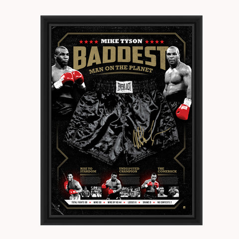 "Mike Tyson Signed Official Boxing Trunks Framed ""BADDEST"" - 3961"